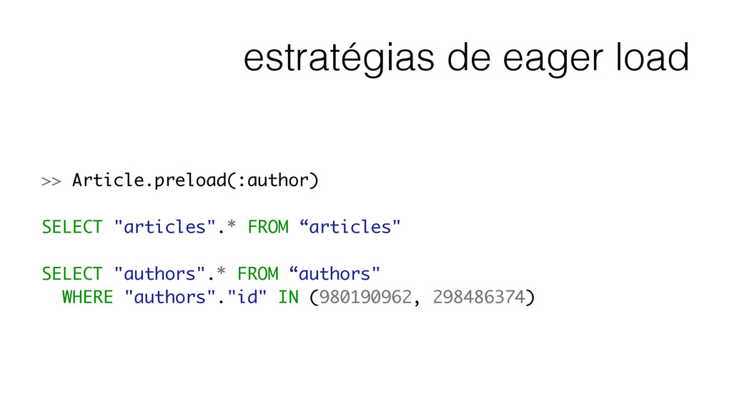 estratégias de eager load >> Article.preload(:a...