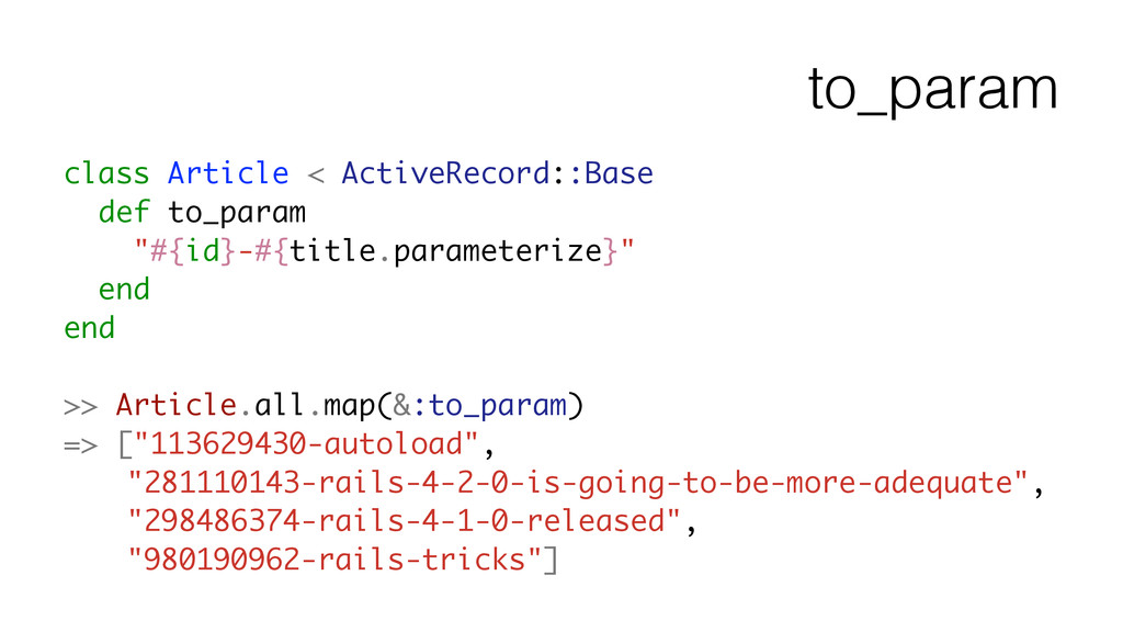 to_param class Article < ActiveRecord::Base def...