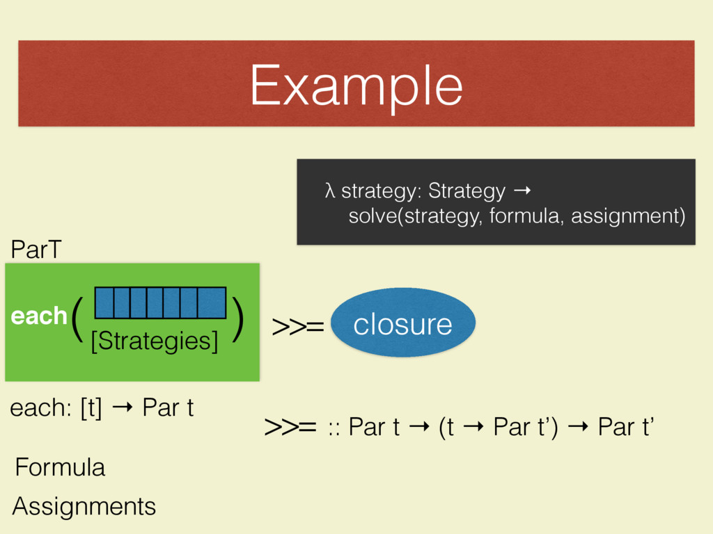 Example [Strategies] each( ( ParT >>= closure e...