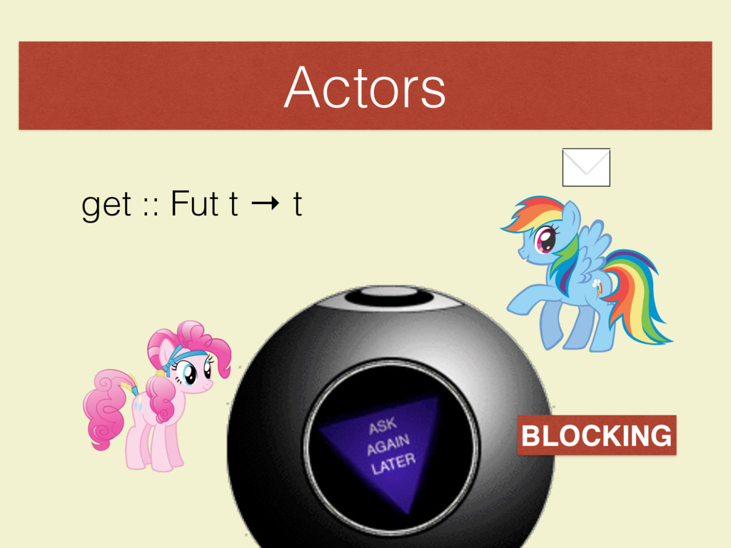 Actors get :: Fut t → t BLOCKING