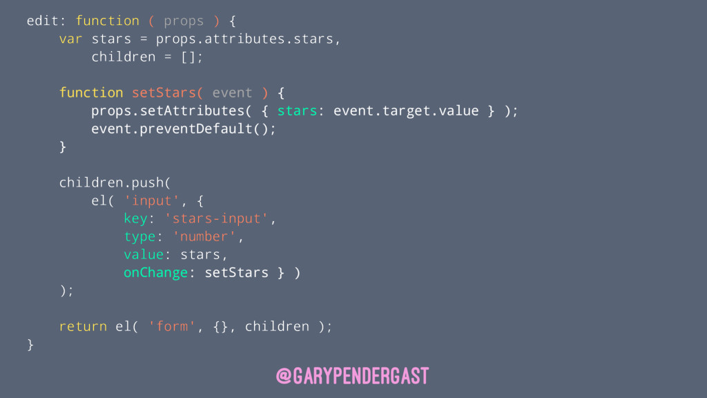 edit: function ( props ) { var stars = props.at...
