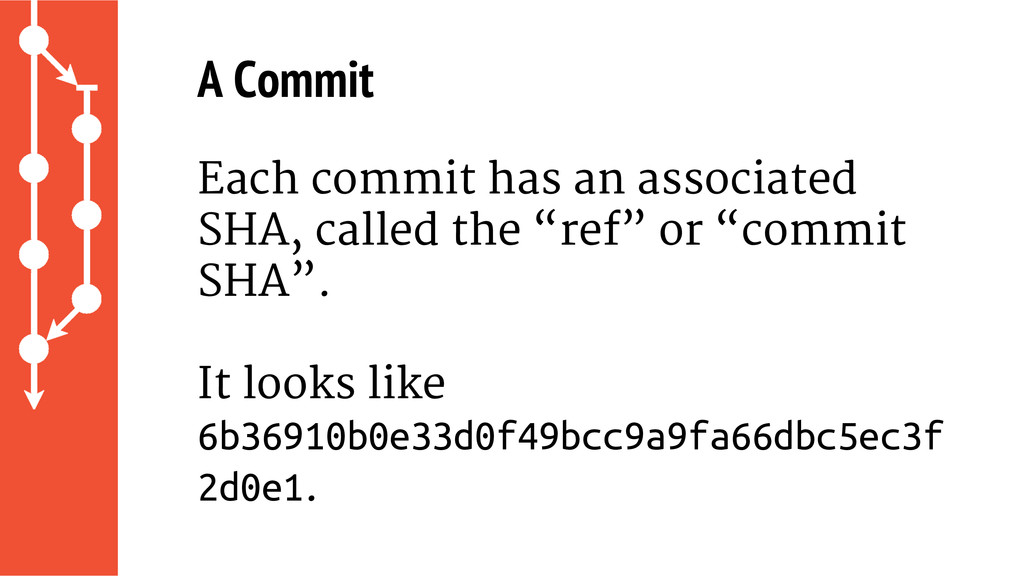 A Commit Each commit has an associated SHA, cal...