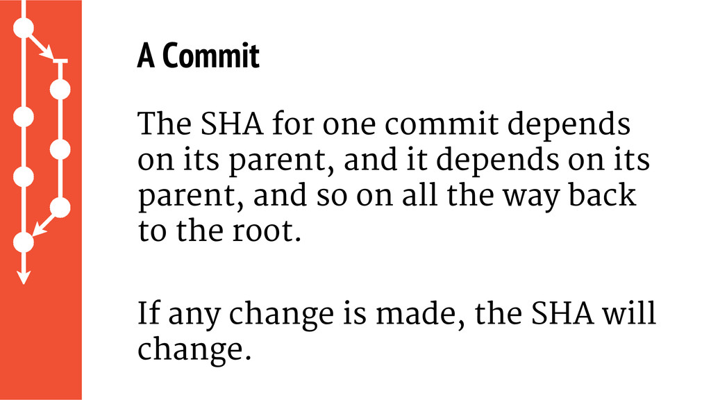 A Commit The SHA for one commit depends on its ...