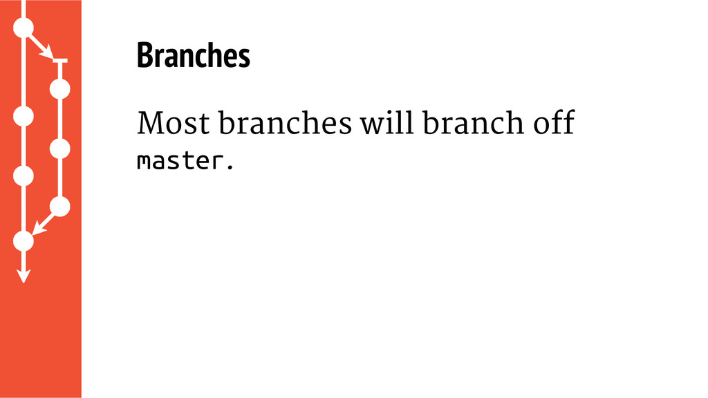 Branches Most branches will branch off master.
