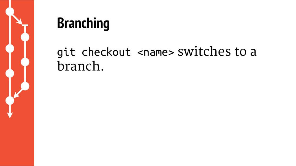 Branching git checkout <name> switches to a bra...