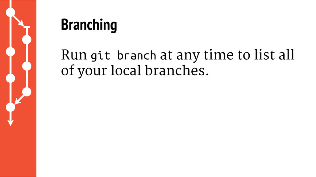 Branching Run git branch at any time to list al...