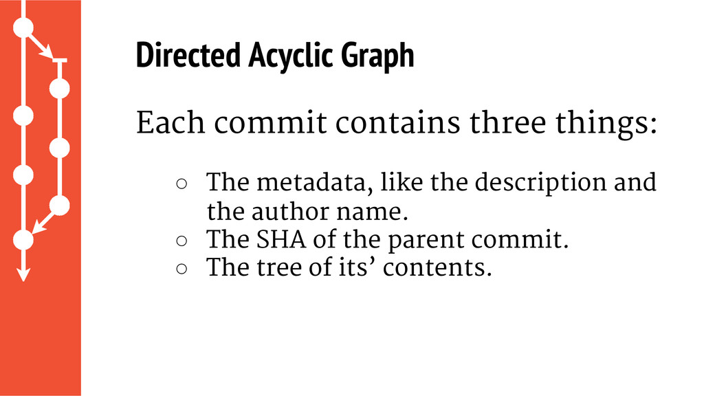 Directed Acyclic Graph Each commit contains thr...