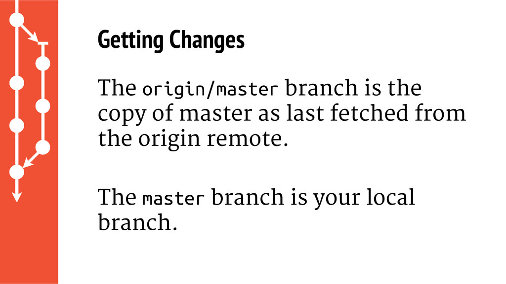 Getting Changes The origin/master branch is the...