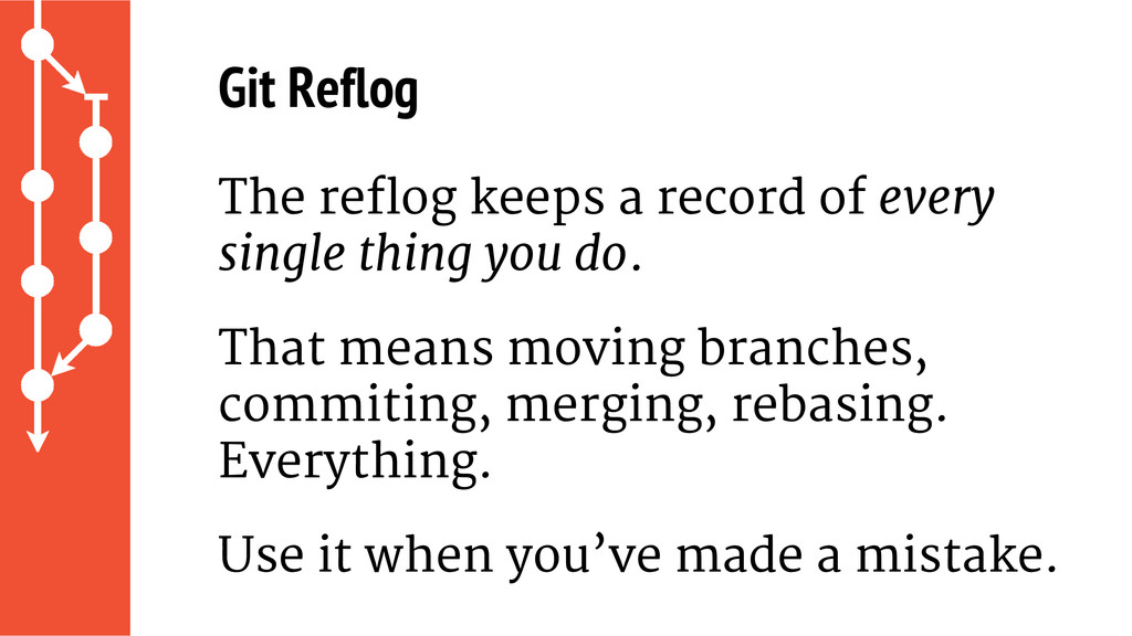 The reflog keeps a record of every single thing...