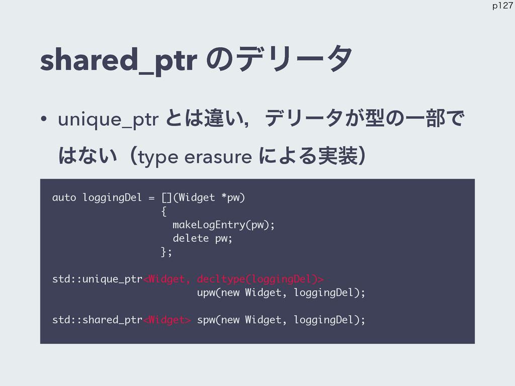 shared_ptr ͷσϦʔλ • unique_ptr ͱҧ͍ɼσϦʔλ͕ܕͷҰ෦Ͱ ...
