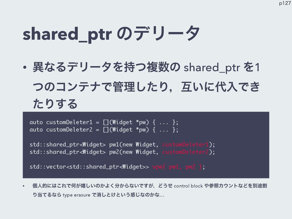 shared_ptr ͷσϦʔλ • ҟͳΔσϦʔλΛͭෳͷ shared_ptr Λ1 ...