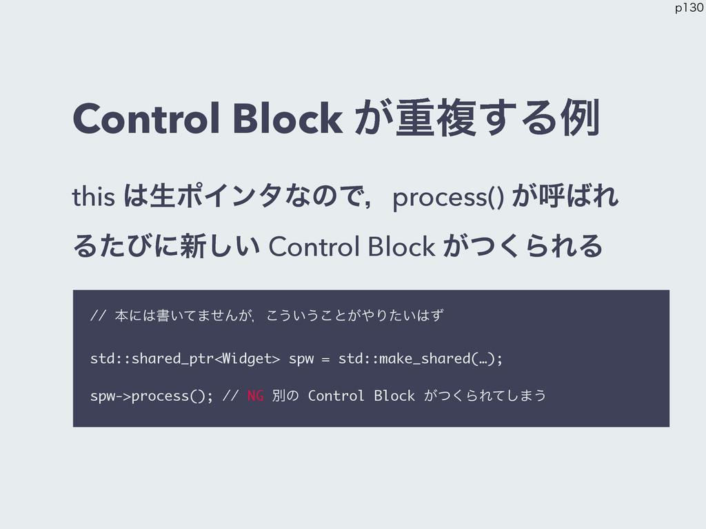 Control Block ͕ॏෳ͢Δྫ this ੜϙΠϯλͳͷͰɼprocess() ͕...