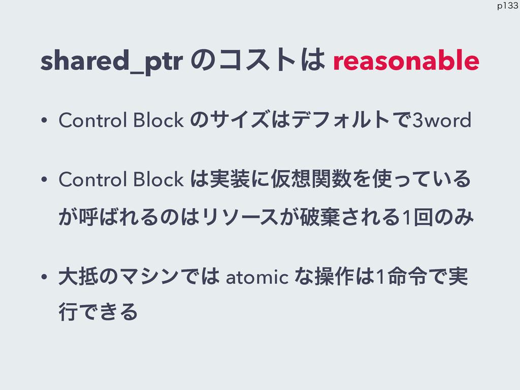 shared_ptr ͷίετ reasonable • Control Block ͷαΠ...
