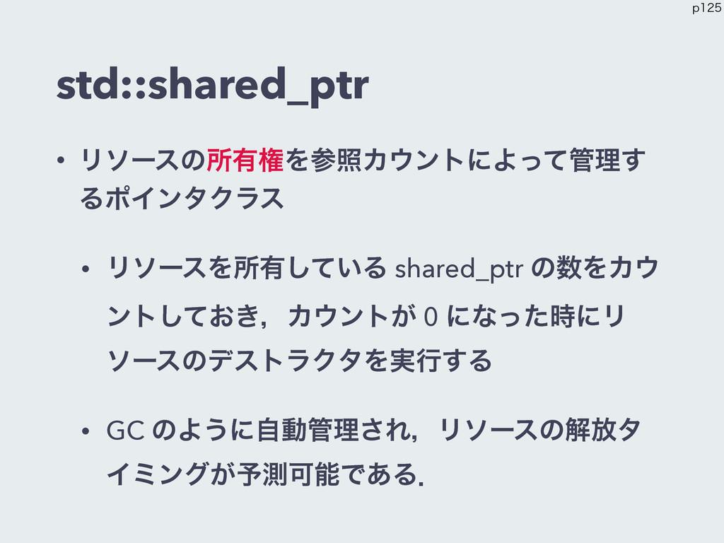 std::shared_ptr • Ϧιʔεͷॴ༗ݖΛরΧϯτʹΑͬͯཧ͢ ΔϙΠϯλΫ...