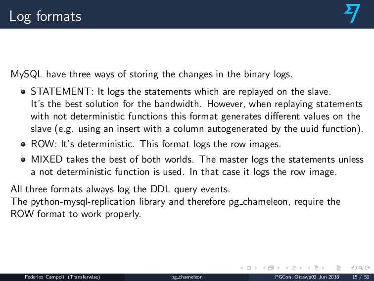 Log formats MySQL have three ways of storing th...