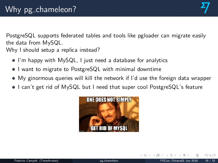 Why pg chameleon? PostgreSQL supports federated...