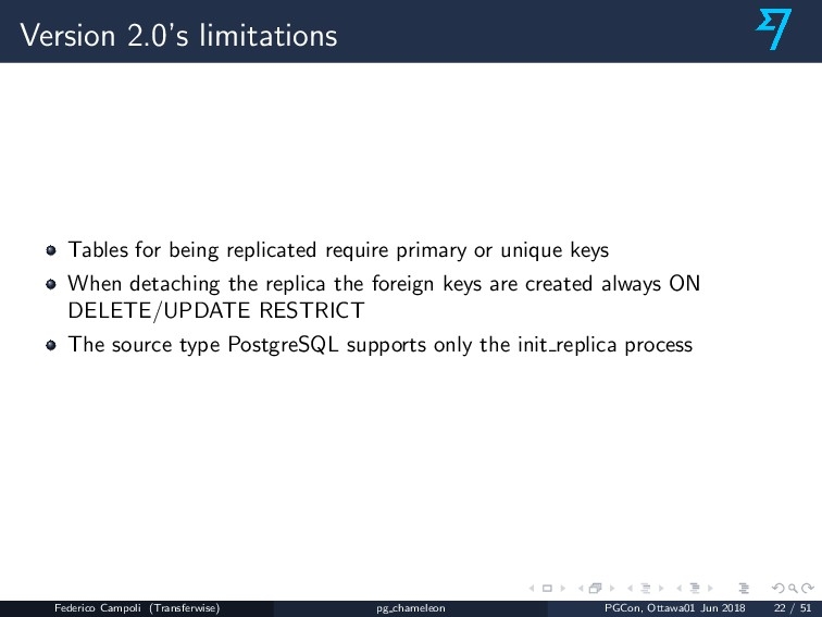 Version 2.0's limitations Tables for being repl...