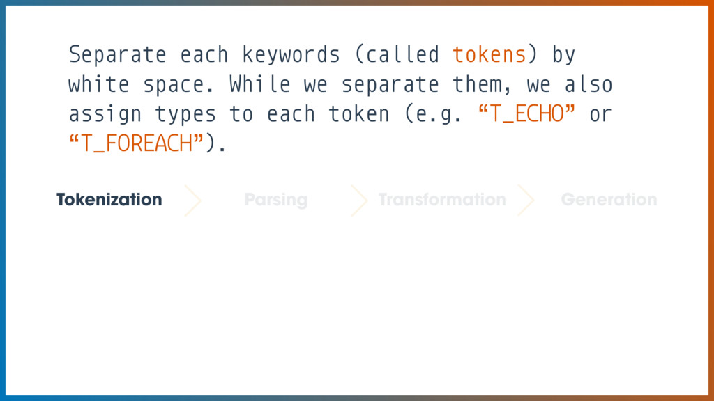 Separate each keywords (called tokens) by white...