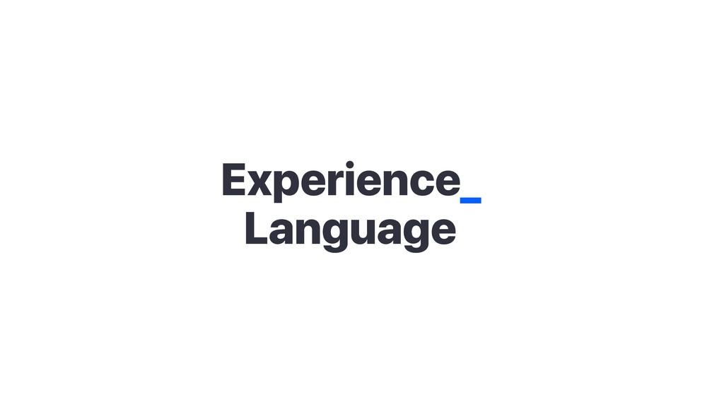 Experience_ Language