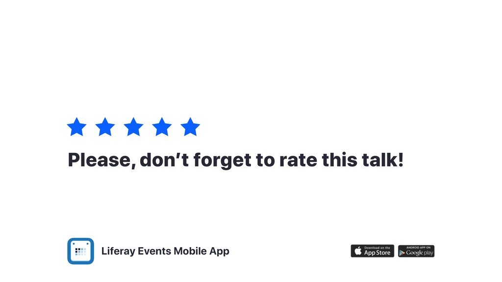 Liferay Events Mobile App Please, don't forget ...