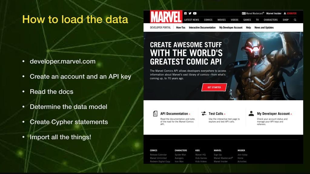 How to load the data • developer.marvel.com • C...