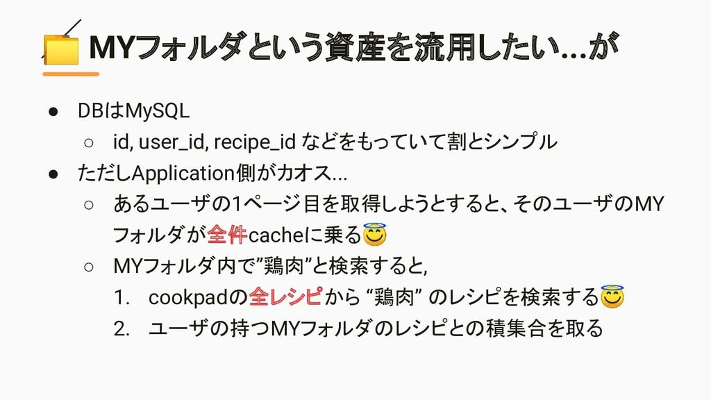 MYフォルダという資産を流用したい...が ● DBはMySQL ○ id, user_id...