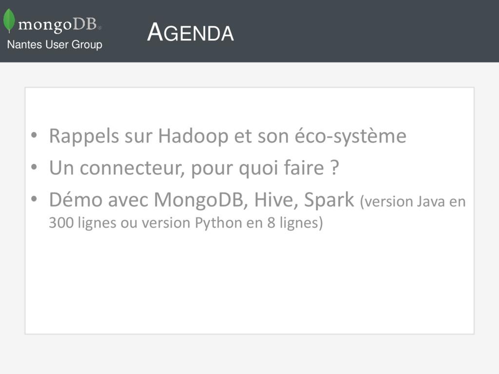 AGENDA • Rappels sur Hadoop et son éco-système ...