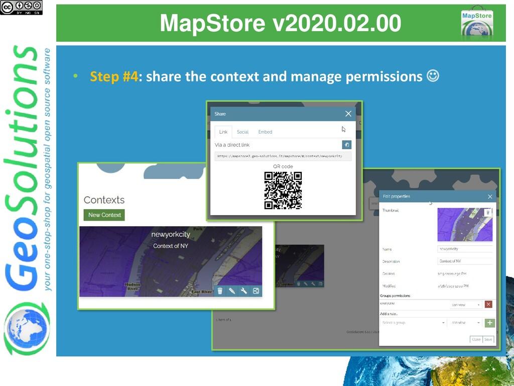MapStore v2020.02.00 • Step #4: share the conte...