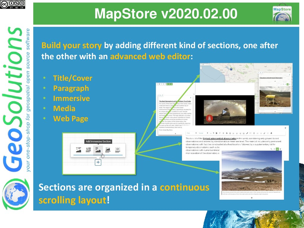 MapStore v2020.02.00 Build your story by adding...