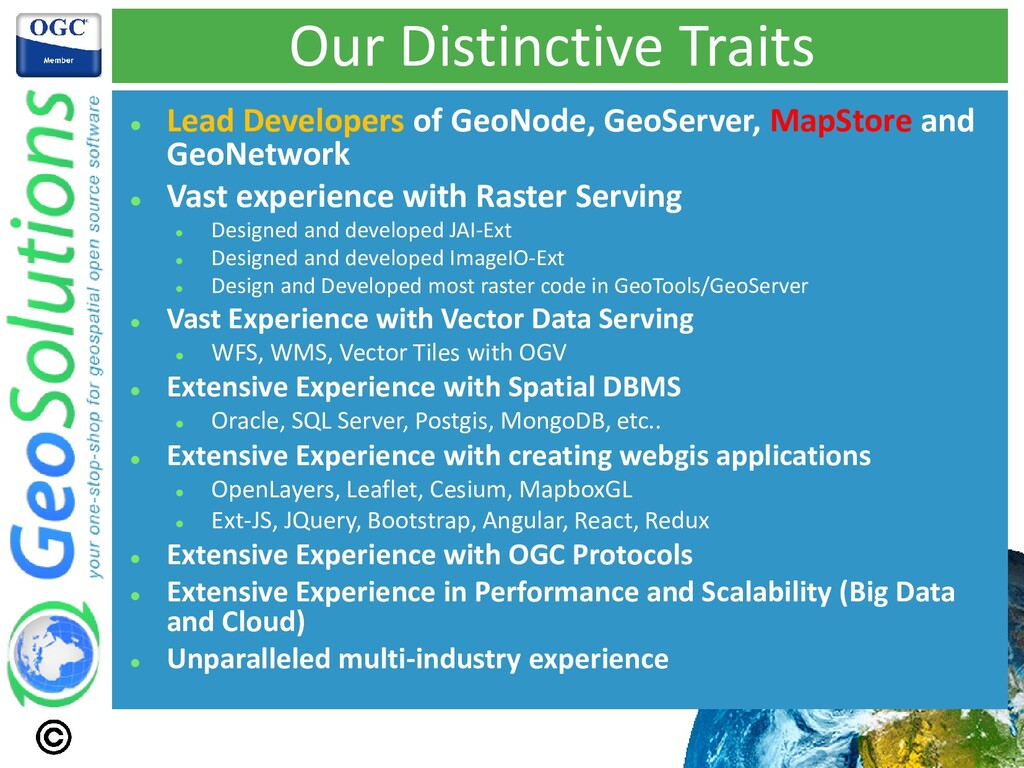 Our Distinctive Traits ⚫ Lead Developers of Geo...