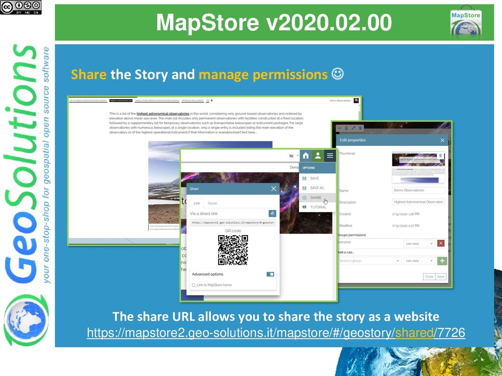 MapStore v2020.02.00 Share the Story and manage...