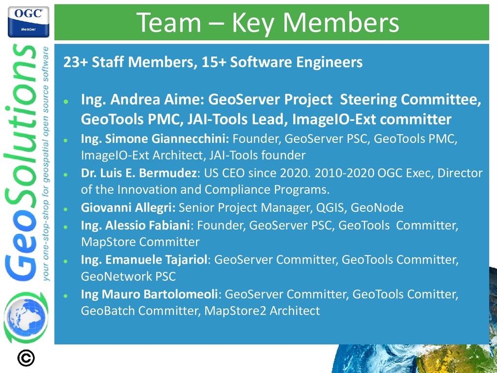 Team – Key Members 23+ Staff Members, 15+ Softw...