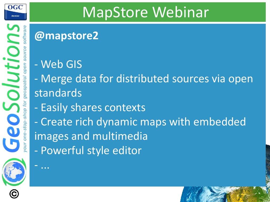 MapStore Webinar @mapstore2 - Web GIS - Merge d...
