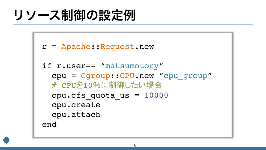 Ϧιʔε੍ޚͷઃఆྫ r = Apache::Request.new if r.user== ...