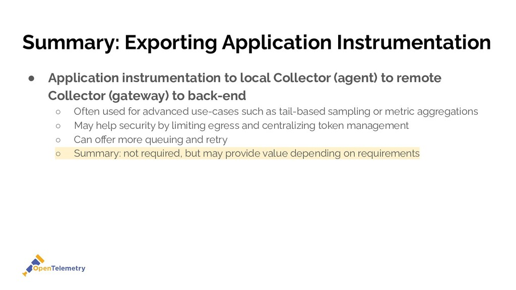 Summary: Exporting Application Instrumentation ...