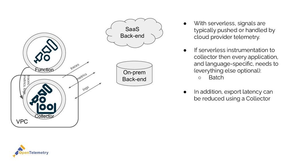 VPC Function SaaS Back-end On-prem Back-end ● W...