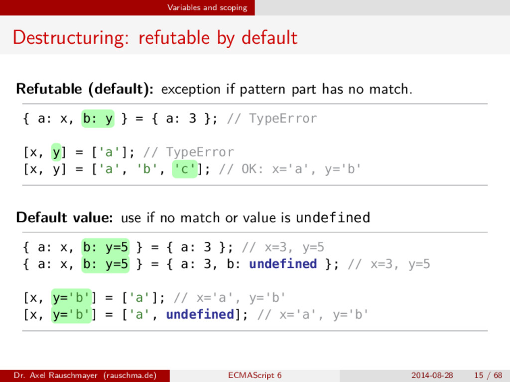 Variables and scoping Destructuring: refutable ...