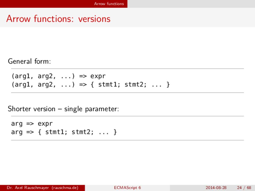 Arrow functions Arrow functions: versions Gener...