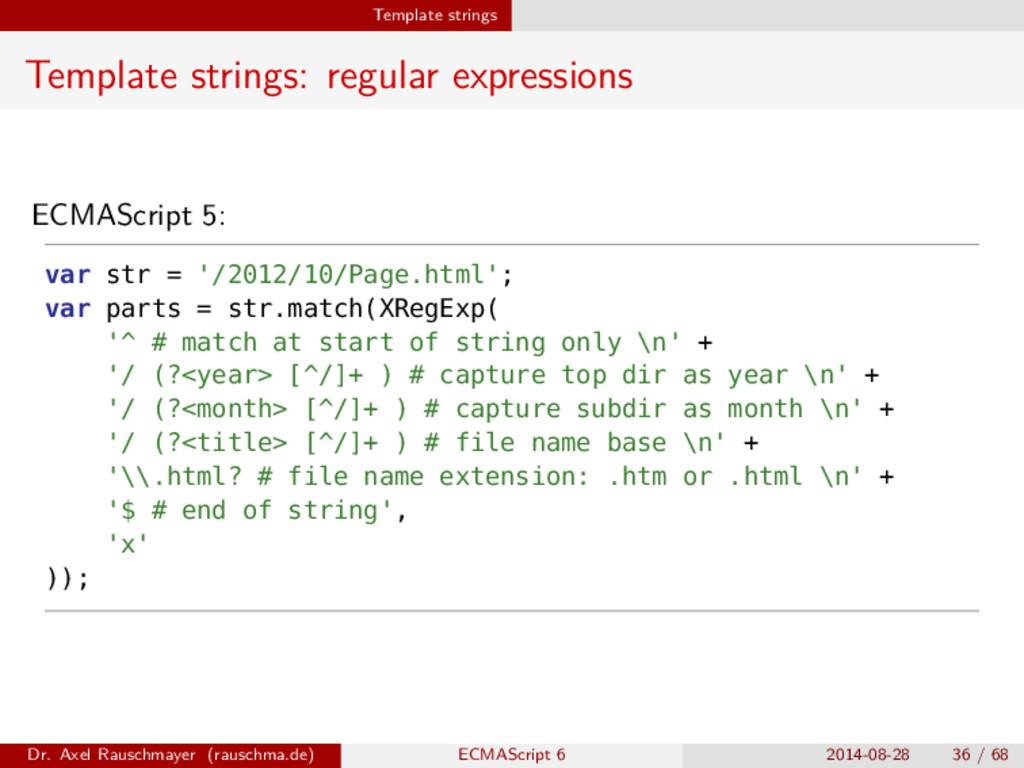 Template strings Template strings: regular expr...
