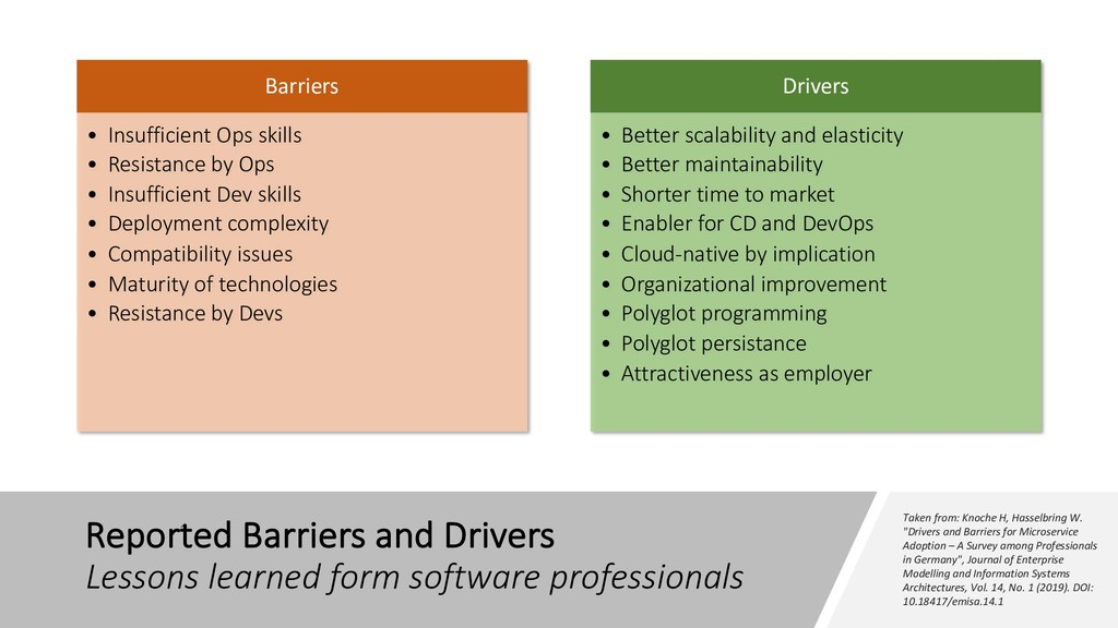 Reported Barriers and Drivers Lessons learned f...