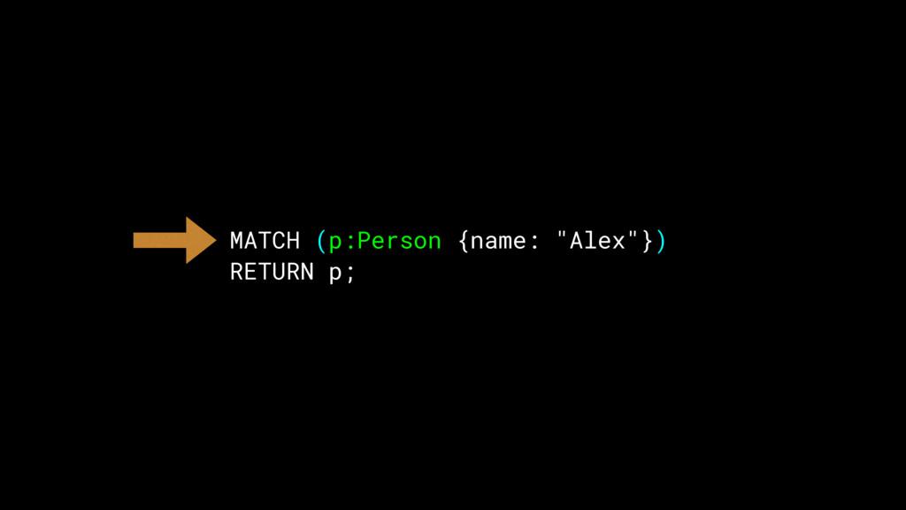 """MATCH (p:Person {name: """"Alex""""}) RETURN p;"""