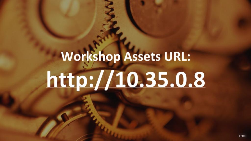 Workshop Assets URL: http://10.35.0.8 2 / 103