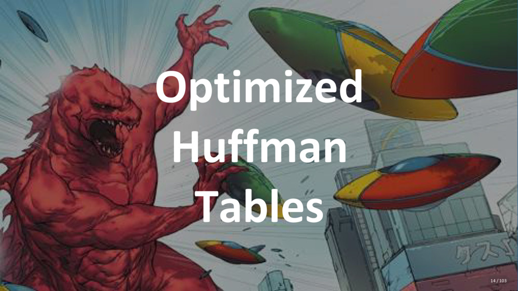 Optimized Huffman Tables 14 / 103