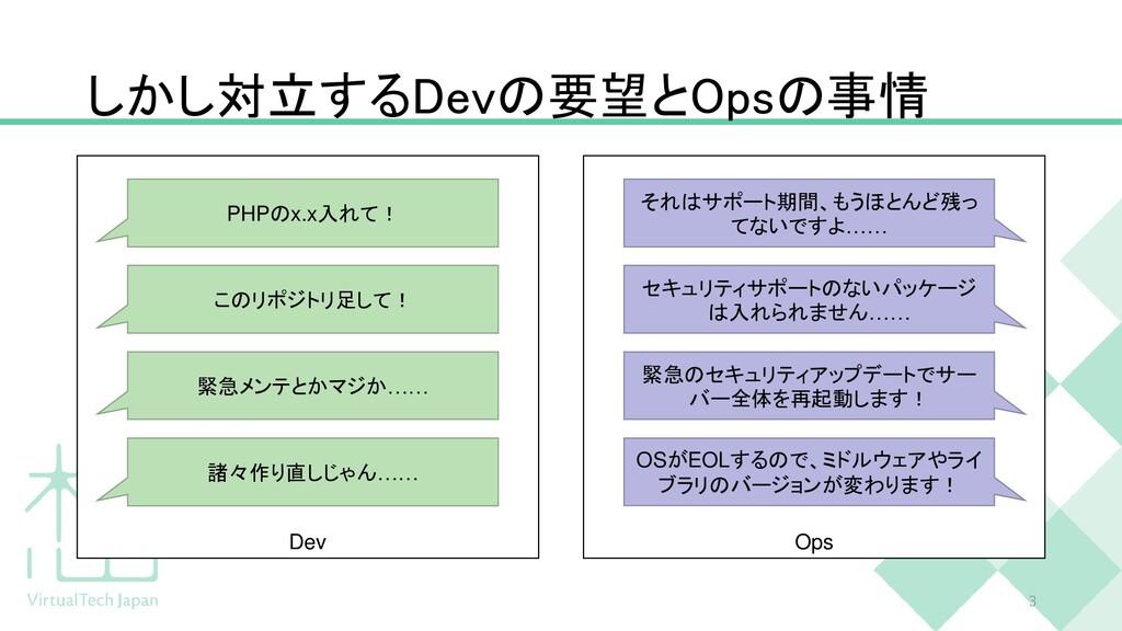 しかし対立するDevの要望とOpsの事情 3 Dev Ops PHPのx.x入れて! このリポ...