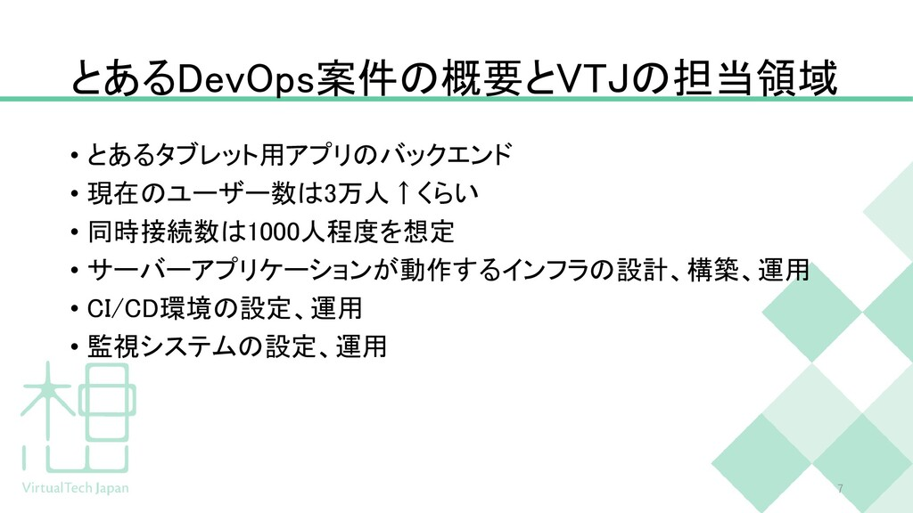 とあるDevOps案件の概要とVTJの担当領域 • とあるタブレット用アプリのバックエンド •...