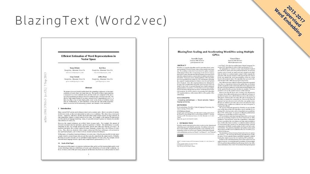 BlazingText (Word2vec) BlazingText: Scaling and...