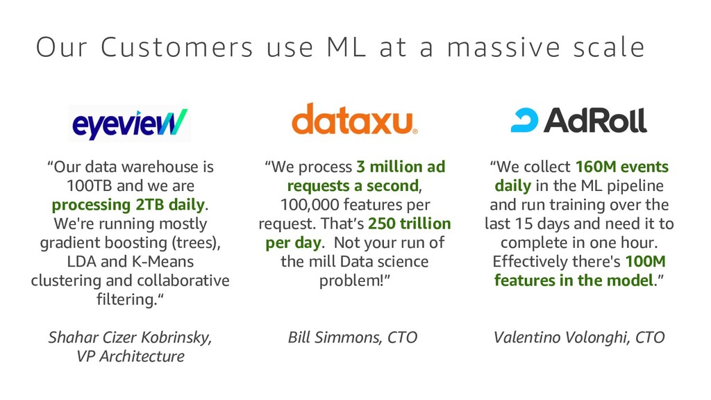 "Our Customers use ML at a massive scale ""We col..."