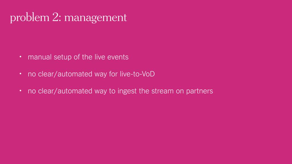 problem 2: management • manual setup of the liv...