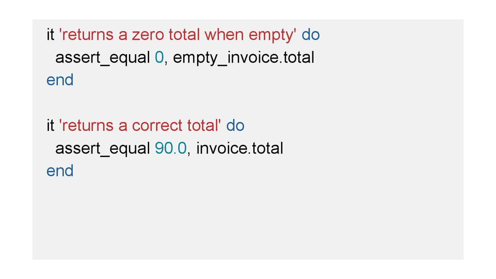 it 'returns a zero total when empty' do assert_...