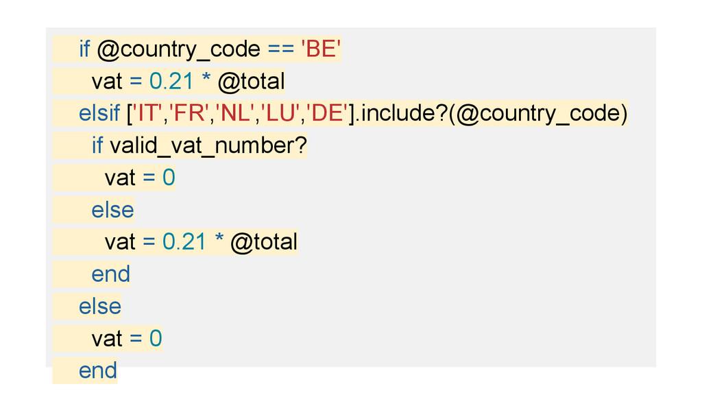 if @country_code == 'BE' vat = 0.21 * @total el...